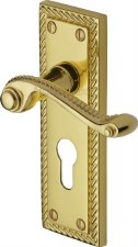 Heritage Georgian Euro Lock Door Handles G046 Polished Brass Lacquered