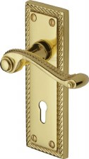 Heritage Georgian Door Lock Handles G040 Polished Brass Lacquered