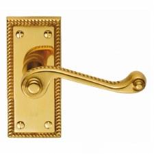 Georgian Door Handles Polished Brass Lacquered