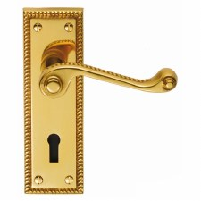 Georgian Door Handles Lock Plate Polished Brass Lacquered