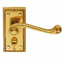 Georgian Privacy Door  Handles Polished Brass Lacquered