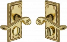 Heritage Georgian Privacy Door Handles G055 Polished Brass Lacquered