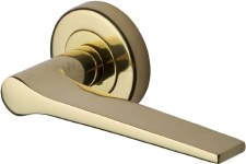 Heritage Gio Round Rose Door Handles V4189 Polished Brass Lacq