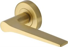 Heritage Gio Round Rose Door Handles V4189 Satin Brass Lacq