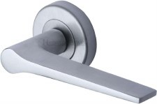 Heritage Gio Round Rose Door Handles V4189 Satin Chrome