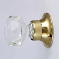 Lead Crystal Mortice Knobs Brass Rose