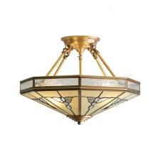 Interiors 1900 Gladstone Semi Flush Ceiling Light Antique Brass
