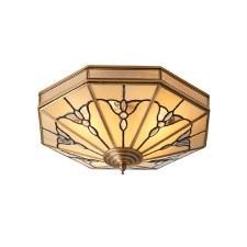 Interiors 1900 Gladstone Flush Ceiling Light Antique Brass