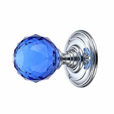 Facetted Blue Glass Door Knobs on Chrome Roses