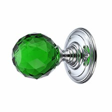 Facetted Green Glass Door Knobs on Chrome Roses