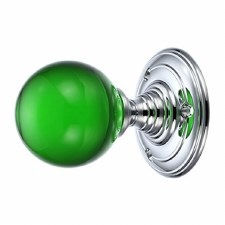 Plain Green Glass Door Knobs Chrome