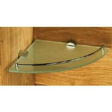 Samuel Heath N5036-S Frosted Corner Glass Shelf Satin Stainless Steel