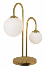 Globe Twin Table Lamp Opal & Brass