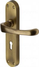 Heritage Gloucester Door Lock Handles V6050 Antique Brass Lacquered