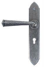 From The Anvil Gothic Door Handles Lock Plate Pewter Patina
