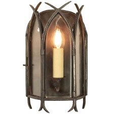 Gothic Flush Wall Light, Antique Brass