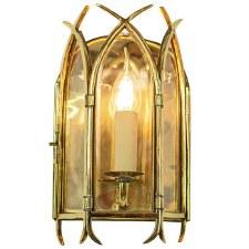 Gothic Flush Wall Light Polished Brass