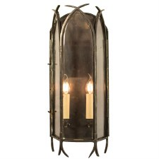 Gothic Large Flush Wall Light, Antique Brass