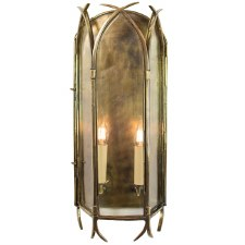 Gothic Large Flush Wall Light, Light Antique Brass