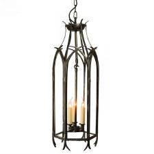 Gothic Large Hanging Pendant Lantern Antique Brass
