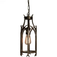 Gothic Hanging Pendant Lantern Antique Brass