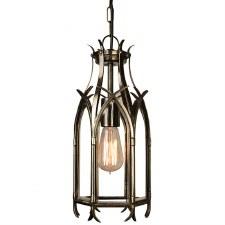 Gothic Hanging Pendant Lantern, Light Antique Brass