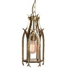Gothic Hanging Pendant Lantern Polished Brass