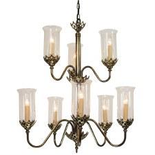 Gothic Chandelier 8 Light 2 Tier Renovated Brass