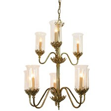Gothic Chandelier 8 Light 2 Tier Polished Brass Unlacquered