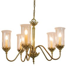 Gothic 5 Arm Light Pendant Polished Brass Unlacquered