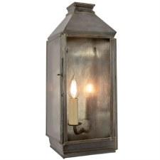 Greenwich Flush Outdoor Wall Lantern Antique Brass