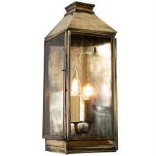 Greenwich Flush Outdoor Wall Lantern, Light Antique Brass