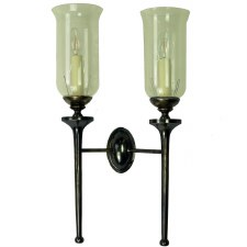 Grosvenor Double Wall Light with Storm Glass Antique Brass
