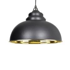 From The Anvil Harborne Pendant Light Hammered Brass & Black