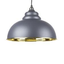 From The Anvil Harborne Pendant Light Hammered Brass & Dark Grey
