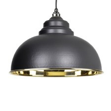 From The Anvil Harborne Pendant Light Smooth Brass & Black