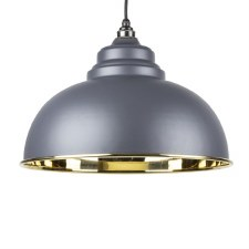 From The Anvil Harborne Pendant Light Smooth Brass & Dark Grey