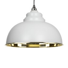 From The Anvil Harborne Pendant Light Smooth Brass & Light Grey