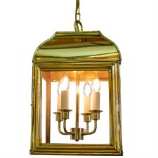 Hemingway Hanging Lantern Large Polished Brass