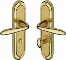 Heritage Henley Bathroom Door Handles HEN1230 Satin & Polished Brass