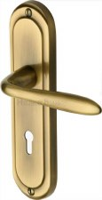 Heritage Henley Door Lock Handles HEN1200 Antique Brass Lacquered