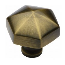 Heritage Hexagon Cabinet Knob C2238 Antique Brass