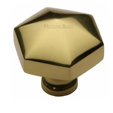 Heritage Hexagon Cabinet Knob C2238 Polished Brass