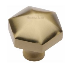 Heritage Hexagon Cabinet Knob C2238 Satin Brass