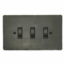 Hand Forged Rocker Light Switch 3 Gang Anthracite