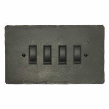 Hand Forged Rocker Light Switch 4 Gang Anthracite