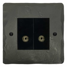 Hand Forged TV Socket Outlet 2 Gang Anthracite