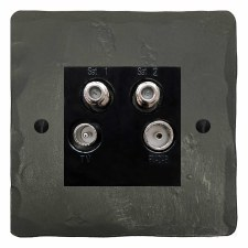 Hand Forged Quadplex TV Socket Anthracite