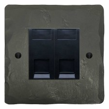 Hand Forged Telephone Socket Secondary 2 Gang Anthracite