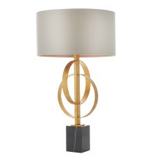 Highcliffe Table Lamp Antique Gold Leaf & Mink Shade